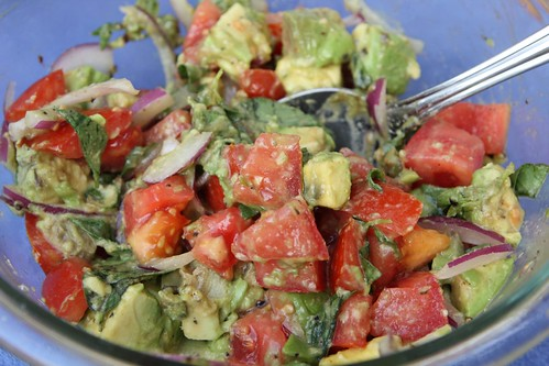 Avocado Salad with Tomato, Red Onion, and Lemon Basil