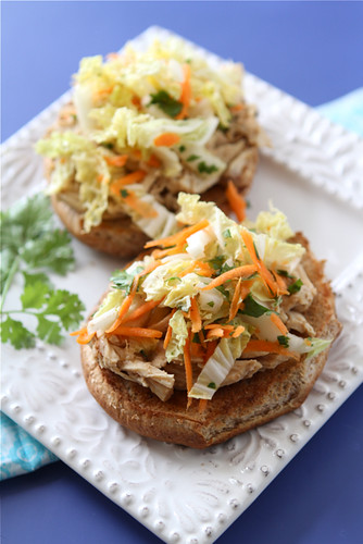 Slow Cooker Hoisin Shredded Chicken Sandwich Recipe with Asian Slaw