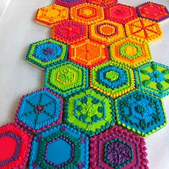 Rainbow hexagon cookies inspired by crocheted afghans!