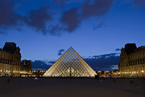 The Louvre Pyramid by night, Paris