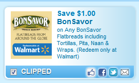Bonsavor Flatbreads Including Tortillas, Pita, Naan & Wraps. (redeem Only At Walmart) Coupon