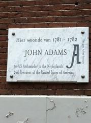 Photo of John Adams white plaque