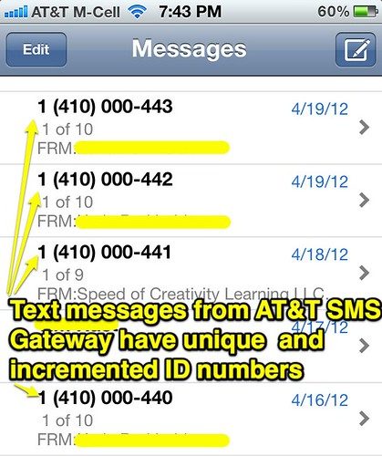 Unique and Incremented SMS ID Numbers