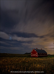 The Big Red Barn at Night