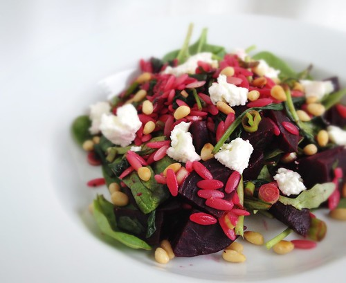 Beetroot and orzo salad with pine nuts and goats curd