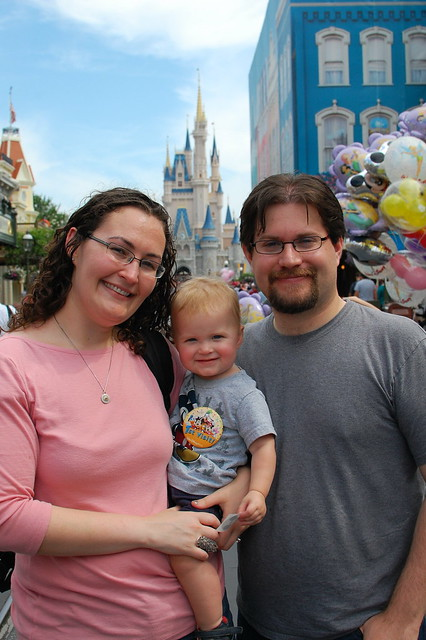 On Main Street: Me, George, Rob and Cinderella's Castle.