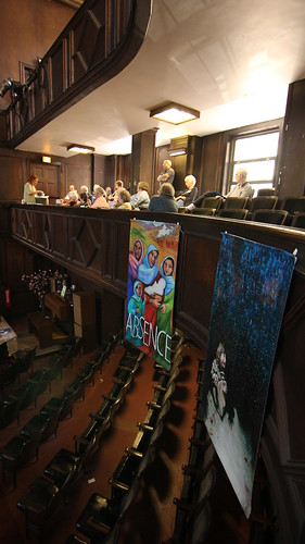 Windows and Mirrors murals hang from the rafters at the  People's Church during NATO Summit.