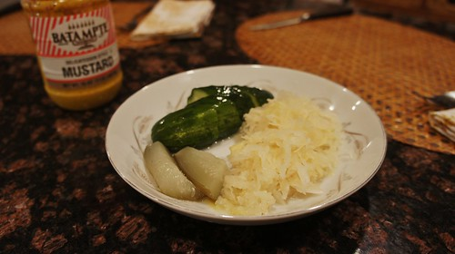 Sauer Kraut, Pickles, and Mustard