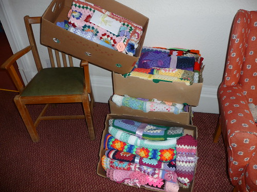 Boxes of Blankets in the Lounge.