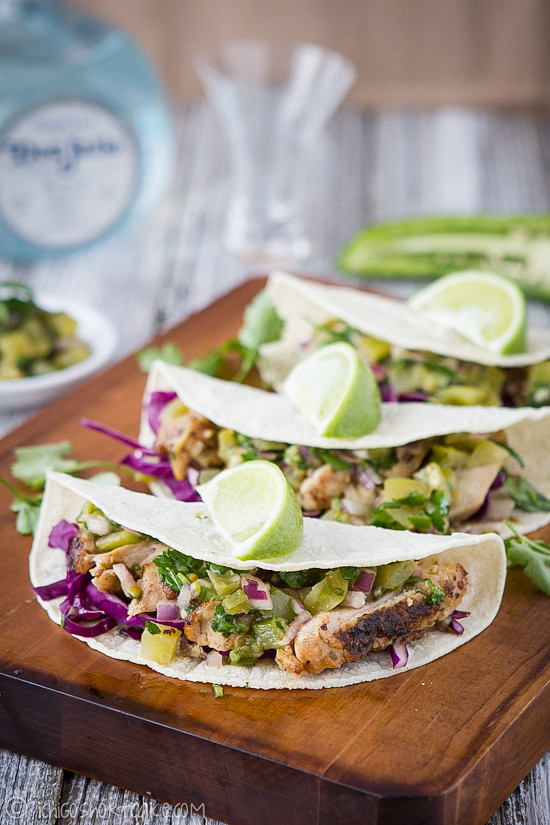 Grilled chicken tacos with green tomato salsa | Ichigo Shortcake