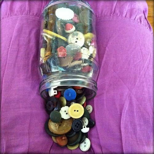 flea market buttons in a jar