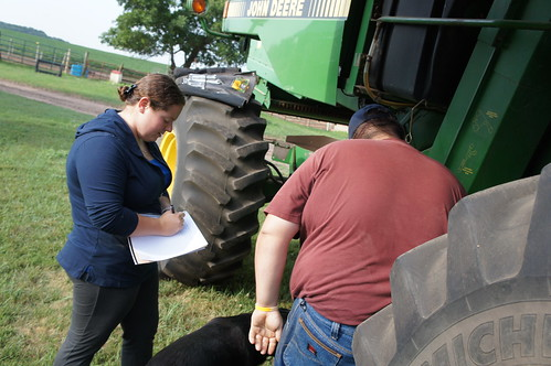 Dan and I inspecting combines