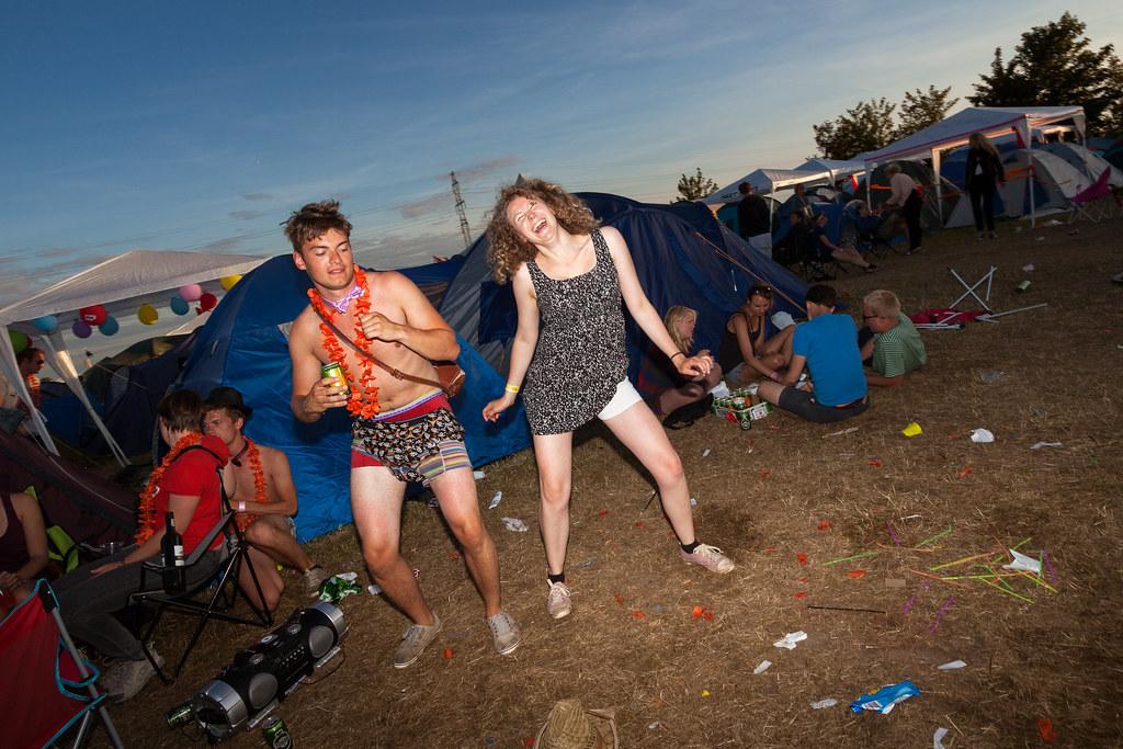 Ambiance au camping du Roskilde festival près de Copenhague. Photo de Stig Nygaard