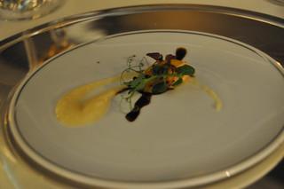 Aperitivo: Ceviche de salmón, crema de naranja y reducción de balsámico