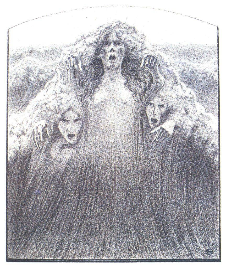 "Carlos Schwabe - Illustration of ""Words of a Believer"" by F. Lamennais, 1908"