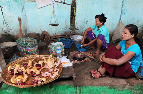 meat market in Bagan, Burma