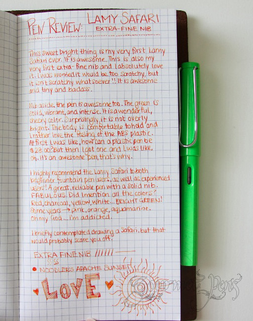 Lamy Safari LE Green Writing Sample
