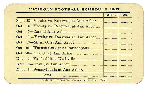 UNIVERSITY OF MICHIGAN FOOTBALL SCHEDULE
