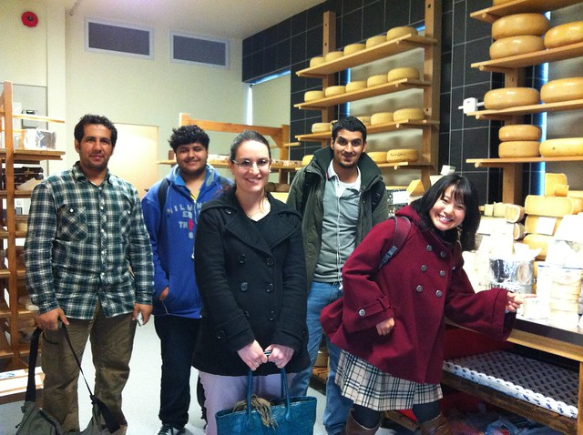 Languages International students at the Cheese Mongers in Christchurch, New Zealand