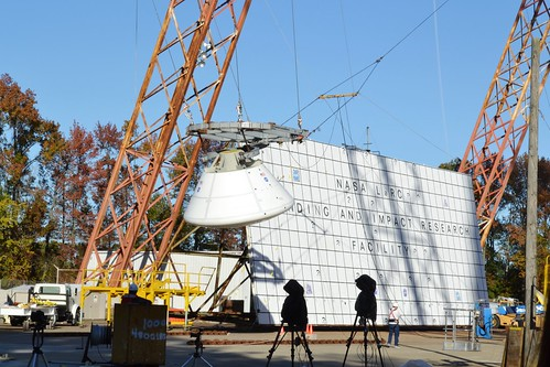Orion model being pulled back in preparation for the drop test