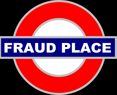 FRAUD PLACE TUBE SIGN by Colonel Flick