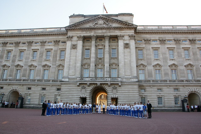 The Olympic Torch Relay arrives at Buckingham Palace
