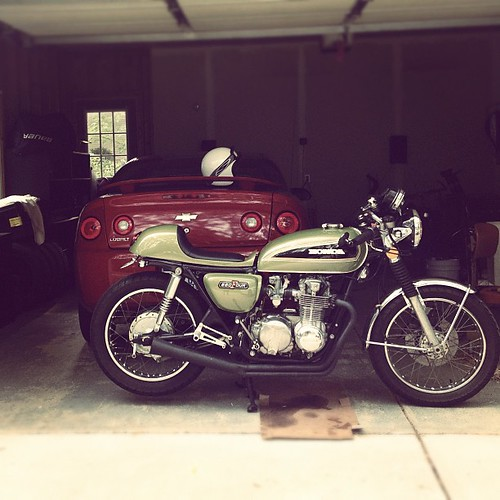 After a carb clean #caferacer #green #motorcycle #honda #cb550 #classic by Vic Sultana