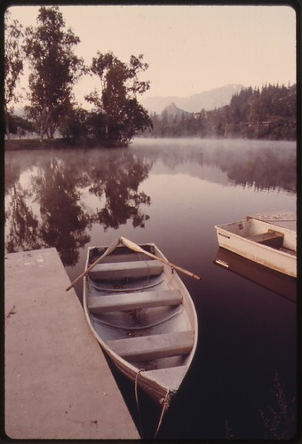 Early morning at Malibu Lake in the Santa Monica Mountains near Malibu, California, which is located on the northwestern edge of Los Angeles County, May 1975
