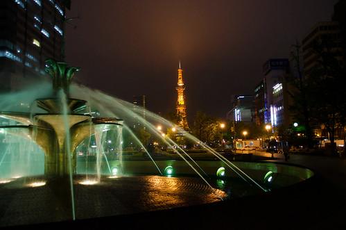噴水とテレビ塔。