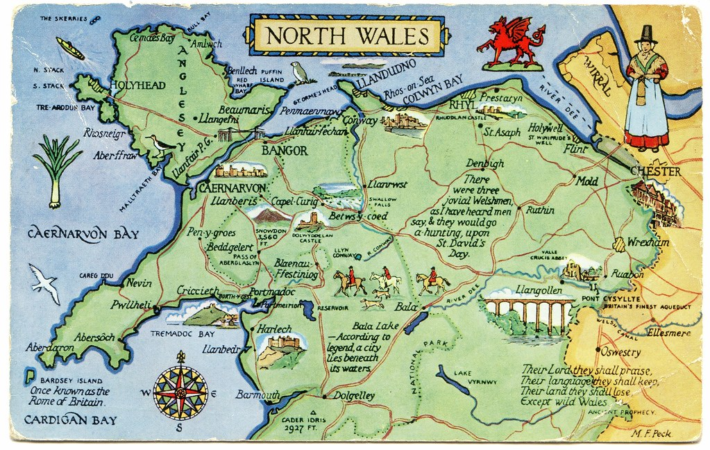 North Wales Map Postcard map of North Wales | Drawn by M F Peck. J Salmon, L… | Flickr North Wales Map