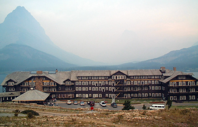 Many Glacier Lodge in the smoke