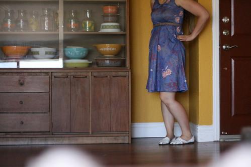blue floral dress.