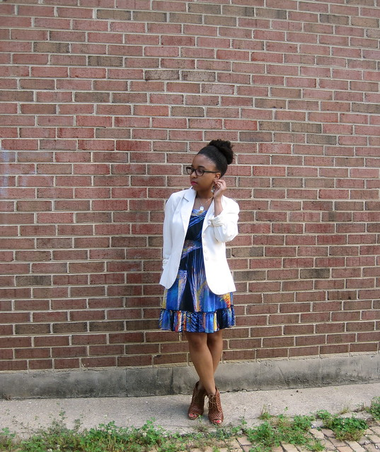 cobalt dress and white blazer 1