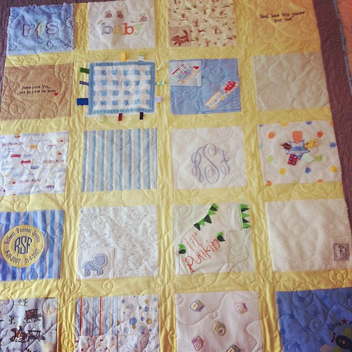 Quilt made of special blankets, shirts, & lovies of Forrest-such a treasure!