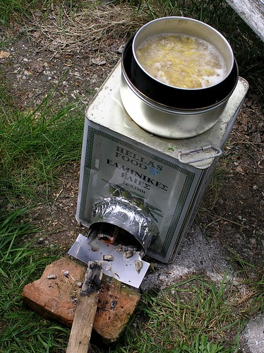Today I made a rocket stove and cooked on it. V^(oo)^V