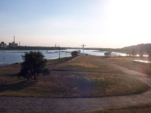 View of the River Vistula at Włoławek. The Cross Marks the Site of the Murder of Bl. Father Popiełuszko by xpisto1