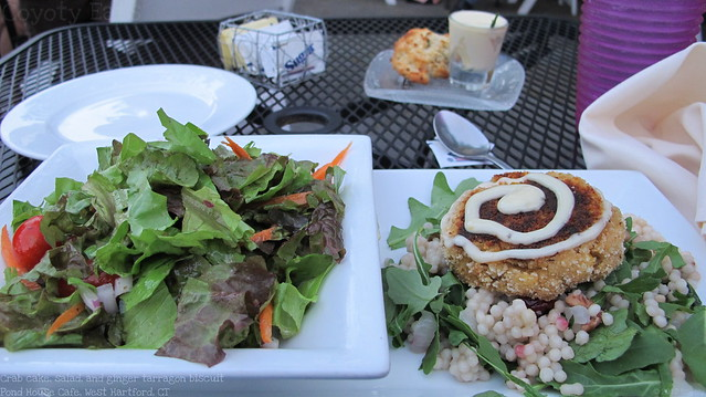 Crab cake, house salad, and ginger tarragon biscuit
