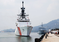 LUMUT, Malaysia (June 14, 2012) The U.S. Coast Guard national security cutter USCGC Waesche (WMSL 751) prepares to moor at Lumut Naval Base to participate in Cooperation Afloat Readiness and Training (CARAT). (U.S. Navy photo by Chief Mass Communication Specialist Aaron Glover)