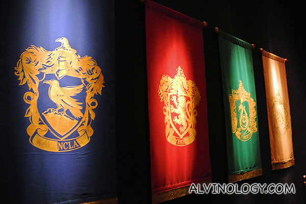 Entering the Great Hall, flanked by the house colours