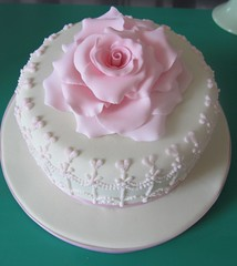 Rose and royal iced detail cake