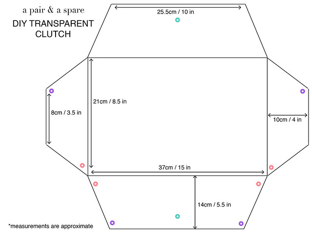 diy transparent clutch template