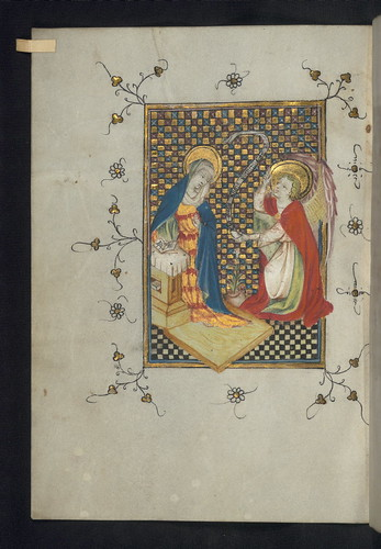 Illuminated Manuscript, Doffinnes Hours, Annunciation, Walters Manuscript W.185, fol. 13v by Walters Art Museum Illuminated Manuscripts