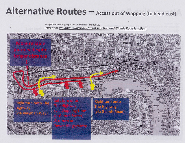 Map showing alternative road routes east out of Wapping during the Olympics