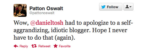 tweet from Patton Oswalt about Daniel Tosh
