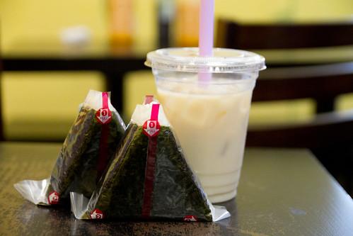 Onigiri and milk tea
