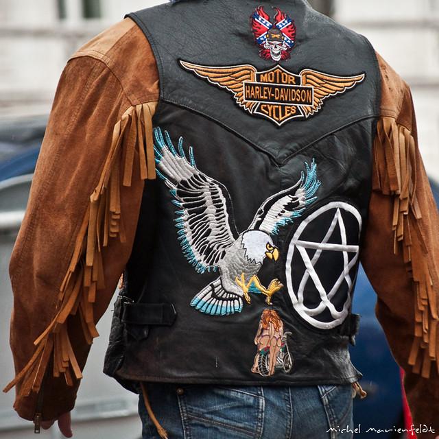 Blouson De Cuir Harley Davidson Noir Et Orange