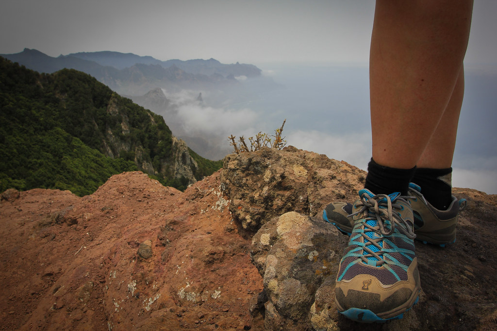 Walking on a ridge on the wild northeast coast of Tenerife