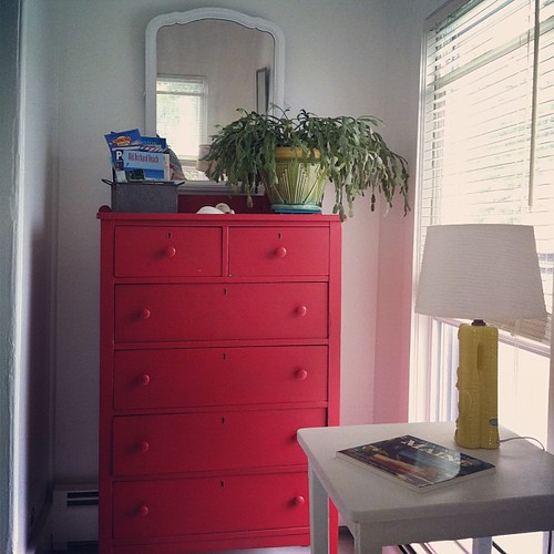 the red dresser in the guest room #thisoldhouse #diy #spaces #home #interiors #maineaesthetic #maine