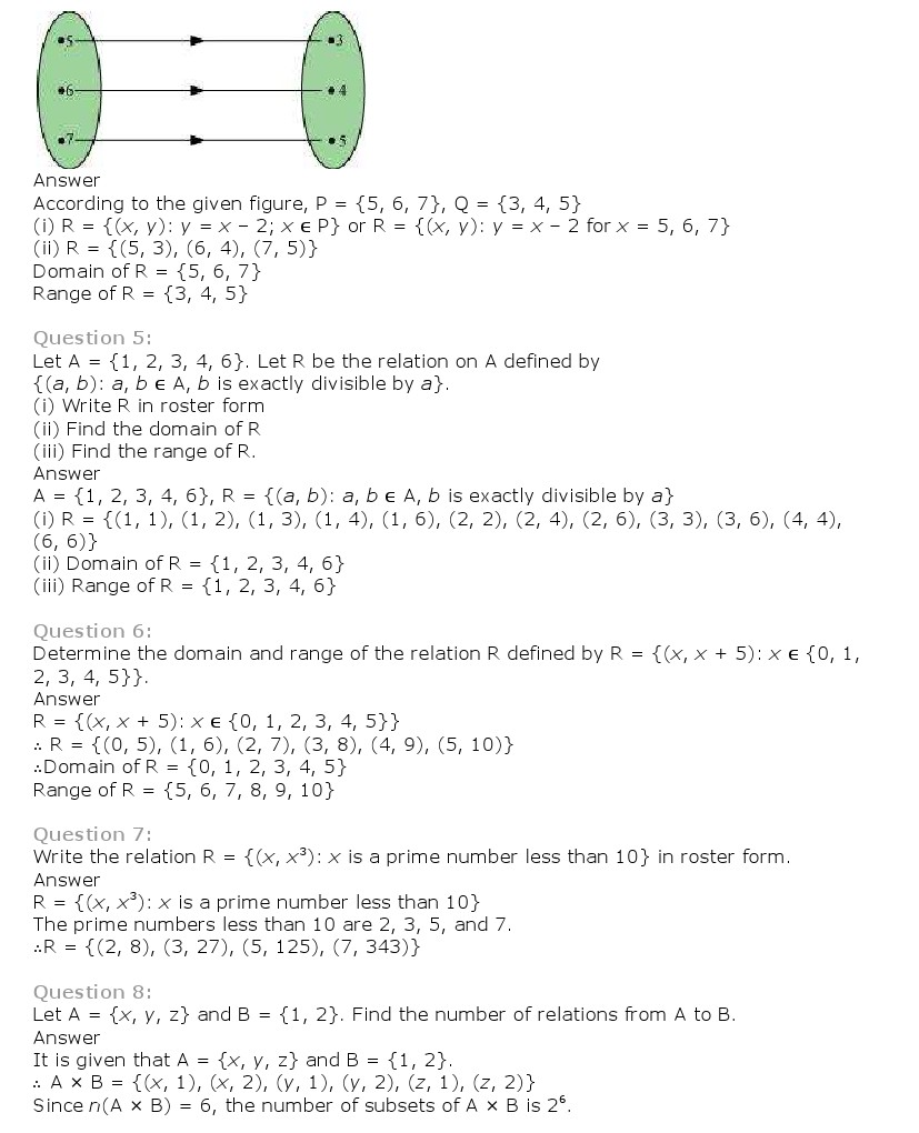 NCERT Solutions for Class 11th Maths: Chapter 2 – Relations