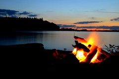Campfire and sunset on beach